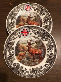 Queen's Quintessential Game 4 SALAD DESSERT PLATES Stag / Deer Thanksgiving NEW! #Queens Stag Deer, Oh Deer, Dessert Plates, Dinner Plates, Porcelain Ceramics, China Porcelain, Classic Dining Room, Dinner Wear, Pantry Shelving