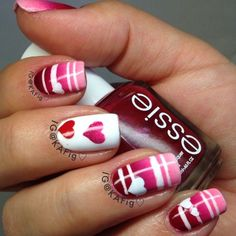 Valentine Heart Nail Design #nail #nails #nailart