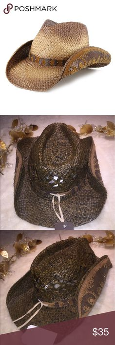 """Woman's Shyanne Brown Straw Cowgirl Hat NWT Brand New With Tags Shyanne Hat   1- 100% Natural Fibers 2- Pinch Front Crease  3- Decorative Hat Band  4- Elastic Sweatband  5- Decorative Edges of Brim with Snakeskin Print Inlay & Studs  6- 3 1/2"""" Brim This Gorgeous Brown Straw Hat is made of Natural Fibers . The Hatband is featured with a Snakeskin Design , Faux Suede and Studs  This is Gorgeous shyanne Accessories Hats"""