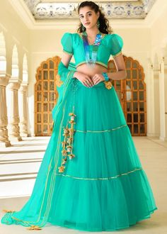 #turquoise #net #lehenga #choli #designs # traditional #indian #outfits #gorgeous #bridesmaid #dresses #wedding #looks #ootd #new #arrival #womenswear #online #shopping