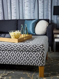 Turn an Old Coffee Table Into an Upholstered Storage Ottoman | Living Room and Dining Room Decorating Ideas and Design | HGTV