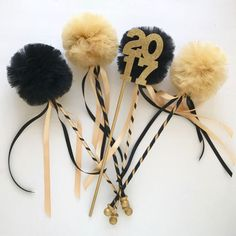Graduation Party Centerpiece, Black and Gold Tulle Pom Pom Wands, Party Favors, DELUXE , 10 pc set Graduation Party Centerpieces, Graduation Decorations, Party Favors, Graduation Ideas, Graduation Theme, Gold Tulle, Tulle Poms, Black Peach, Black Gold