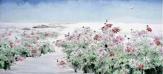 (Korea) 첫눈 내린날의 코스모스 by Kim Chung Sik (1954~   ). color on paper. 100×200cm. Korean painting.