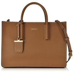 DKNY Handbags Bryant Park Tan Saffiano Leather Tote Bag ($355) ❤ liked on Polyvore featuring bags, handbags, tote bags, brown handbags, structured purse, tan tote bag, dkny handbags and zip top tote