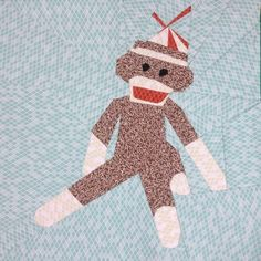 Rocking The Sock - Sock Monkey Quilt Block free pattern