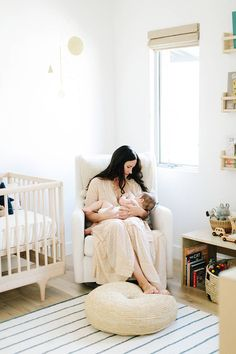 A co-founder 100 Layer Cake designed a serene nursery we can't stop staring at. Prediction: This neutral nursery tour will persuade you to forgo color Newborn Photography, Breastfeeding Art, Photography Ideas, Pastel Nursery, Nursery Neutral, Bright Nursery, Neutral Nurseries