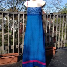 Vintage 90s Laundry Blue India inspired Maxi Dress