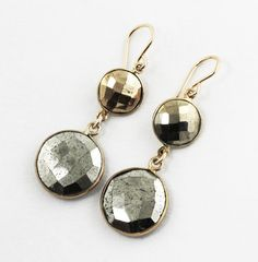 Golden Pyrite double drop dangle earrings with 22k gold vermeil bezels! Facets on both sides flash and reflect as you move!  SIZE & SPECS
