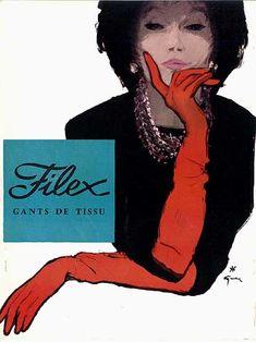 1960 by René Gruau (1909 - 2004) http://bellesdepub.free.fr/gruau-filex_1960.htm