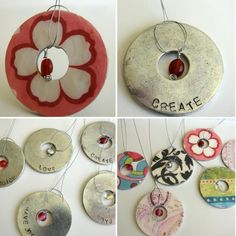 DIY Hardware Store Washer Jewelry Tutorial. I like this tutorial because it includes stamped and paper covered washers with a bead dangling in the middle. Tutorial from The Crafting Chicks here.