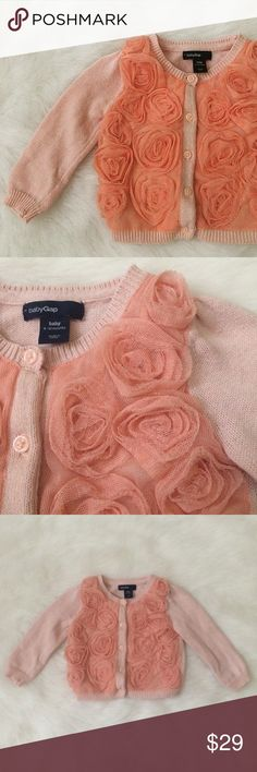 Baby Gap Roses Sweater Adorable Baby Gap sweater for your Posh Mini. Five buttons down the front. Size 6-12 months. Baby Gap Shirts & Tops Sweaters