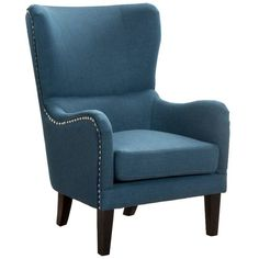Dark Blue High Back Fabric Armchair by Sky Blue Furniture. Get it now or find more Armchairs at Temple & Webster. Colonial Furniture, Blue Furniture, Furniture Market, Living Furniture, Quality Furniture, Living Room Chairs, Furniture Ideas, High Back Armchair, High Back Chairs