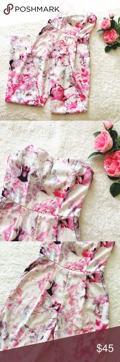 """Floral strapless jumpsuit Absolutely stunning pink&lilac floral jumpsuit by a boutique brand L'atiste by Amy. Size Small. Hidden back zipper. Two side pockets. Skinny bottoms. Measures: bust flat about 14-15""""// waist flat 13""""// 28"""" inseam. *Fit reference- should best fit 32/34 B/C chest. I'm 5""""4 and the legs fit perfect right at my ankle. Gently worn only a few times and in great condition. Please ask questions  L'atiste by Amy Pants Jumpsuits & Rompers"""