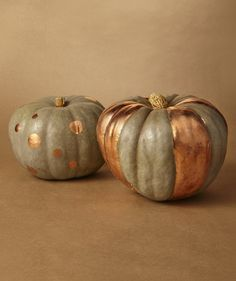 You can turn pumpkins into an elegant gold-leafed centerpiece with this easy DIY.
