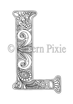 Adult Colouring Page Alphabet Letter L