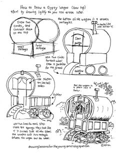 How to Draw Worksheets for The Young Artist: Printable How To Draw A Gypsy Wagon Worksheet see more at my blog: http://drawinglessonsfortheyoungartist.blogspot.com/2015/09/printable-how-to-draw-gypsy-wagon.html