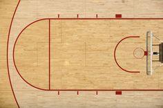 Hard wood basketball court