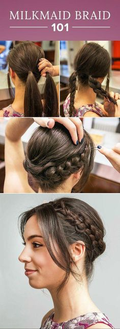 How to Get the Milkmaid Braid Right Off the Golden Globes Red Carpet If you can create a simple braid, you can do this! This easy milkmaid braid tutorial would look chic at any event. Try this hairstyle for your next wedding, cocktail party, or barbecue! New Braided Hairstyles, Trendy Hairstyles, Girl Hairstyles, Wedding Hairstyles, Updo Hairstyle, Wedding Updo, Easy Hairstyles For Work, School Hairstyles, Beautiful Hairstyles