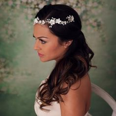 Verity Bridal Vine Head Piece. Wedding headpiece. Bridal flower crown headpiece. Pearl and flower hair vine. www.mimosabridal.com