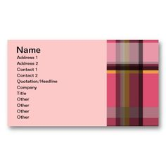 135 PINK BROWN PLAID PATTERN GRAPHIC BACKGROUNDS T BUSINESS CARD