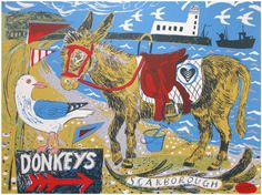 'Scarborough Donkey' by Mark Hearld (lithograph). From 'The Magpie Eye' exhibition at Scarborough Art Gallery, 2009 Horse Illustration, Music Drawings, Glasgow School Of Art, Royal College Of Art, Collage Artists, Seascape Paintings, Naive Art, Hand Painted Ceramics, Art Gallery