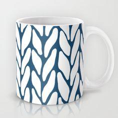 Hand Knitted Navy Mug #navy #blue #white #knit #knitwear #yarn #wool #projectm