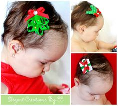 Set of 3 Christmas Ribbon Sculptured Clippies by ElegantCreationsByCC, $7.99