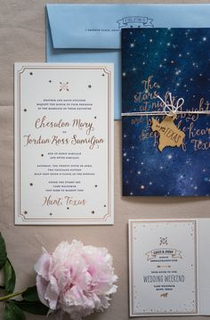 Rose Gold Foil Night Sky Wedding Invitations by Gus & Ruby Letterpress / Photo Credit: Brea McDonald Photography / Oh So Beautiful Paper