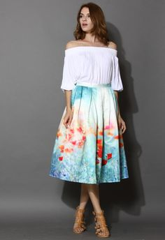 Poppy Flower Print Midi Skirt - Skirt - Bottoms - Retro, Indie and Unique Fashion