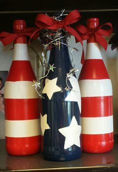 Finished another project! Wine bottle 4th of July Decoration! #winebottlecrafts More - Our Secret Crafts Wine Bottles, Wine Glass