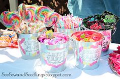 Buckets filled with carnival candy