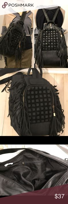 Vegan Leather Backpack and Crossbody Bag Never used in mint condition. This is faux Leather and you can use in two ways.(backpack and Crossbody Bag) I got this from a friend as a gift but there was no chance to use. Measurements H 16' L 10' D 7' Welcome reasonable offer but no lowball offer and trade. Thanks! Bags Backpacks