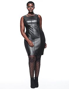 Fierce & flattering sleeveless sheath dress amps up your wow factor with faux leather paneling. Contoured and seamed to highlight your assets, it features a sexy scoop neckline and soft ponte sides to hug every curve perfectly. Exposed back zipper closure. Fully lined.  lanebryant.com