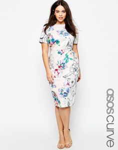 ASOS Curve | ASOS CURVE Bodycon Dress in Scuba Floral Print at ASOS love the floral!!!
