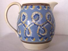 """Incredible Antique Mochaware Pitcher in """"Figure-Eights"""" English Staffordshire  sold 2556."""