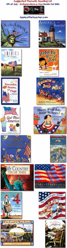 Suggested thematic reading list for Independence Day - 4th of July books for kids.