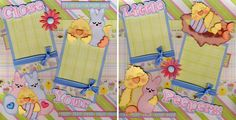 Peeps Easter 2 Premade Scrapbook Pages Paper Piecing 4 Album Baby by Cherry | eBay