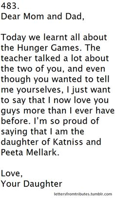 dear mom and dad(katniss and peeta) from their daughter