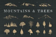 Hand-Drawn Mountains and Trees by Adrian Pelletier on @creativemarket