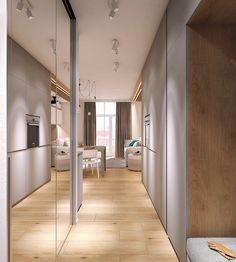 Moderrn apartment in Comfort Town on Behance Best Interior, Interior Design, Flur Design, Hallway Designs, Apartment Interior, Home Decor Bedroom, Small Spaces, Kitchen Design, Sweet Home