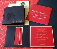 Wedding invitation with Chinese Dragon in red, gold and black. Hand lettering. www.realcardstudio.com