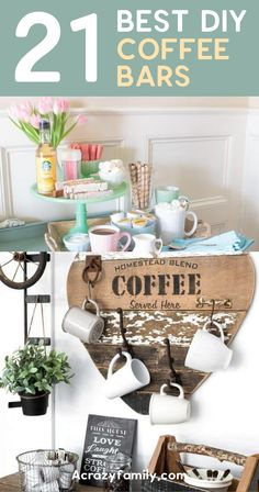 21 Best DIY Coffee Bar Ideas Start your day off the best way possible with a cup of coffee made from one of these amazing coffee bar ideas! Here are some of the most stunning coffee bar ideas I could find. Coffee Bar Station, Home Coffee Stations, Coffee Cabinet, Hot Cocoa Bar, Christmas Coffee, Blended Coffee, Bar Ideas, Crafts For Kids, Diy Projects