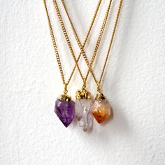 Amethyst Point Pendant Necklace Raw Crystal by AtelierYumi on Etsy