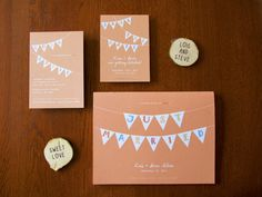 Pennant Save The Date Vintage Inspired Invitations from Earmark