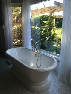 Remodeled our bathroom with Restoration Hardware Palais bathtub & a view