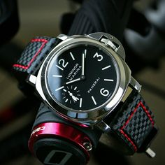 B & R Bands Red Stitch Carbon Fiber Strap looking hot on the Panerai 111, Panerai Luminor, Breitling Watches, Fine Watches, Cool Watches, Most Expensive Rolex, Panerai Straps, Popular Watches, Luxury Watches For Men