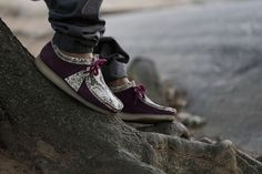 Concepts Clarks Wallabee Moc Snakeskin Burgundy Suede