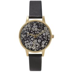 Olivia Burton Monochrome Ditsy Floral Watch - Black & Gold ($110) ❤ liked on Polyvore featuring jewelry, watches, accessories, bracelets, black gold bracelet, black bracelet, bracelet watches, black jewelry and gold bracelet watches