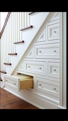 Built in staircase storage