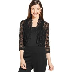 R&M Richards Scalloped Sequin Lace Bolero ($39) ❤ liked on Polyvore featuring outerwear, jackets, black, sequin bolero, lace bolero, lace bolero jacket, black sequin jacket and sequin bolero jacket